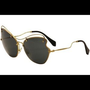 Miu Miu Prada Women's Black/Gold Sunglasses SMU56R